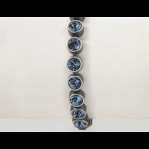 Vintage Gun Metal bracelet with denim crystal
